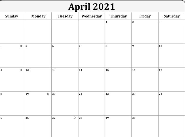 April 2021 Calendar Moon