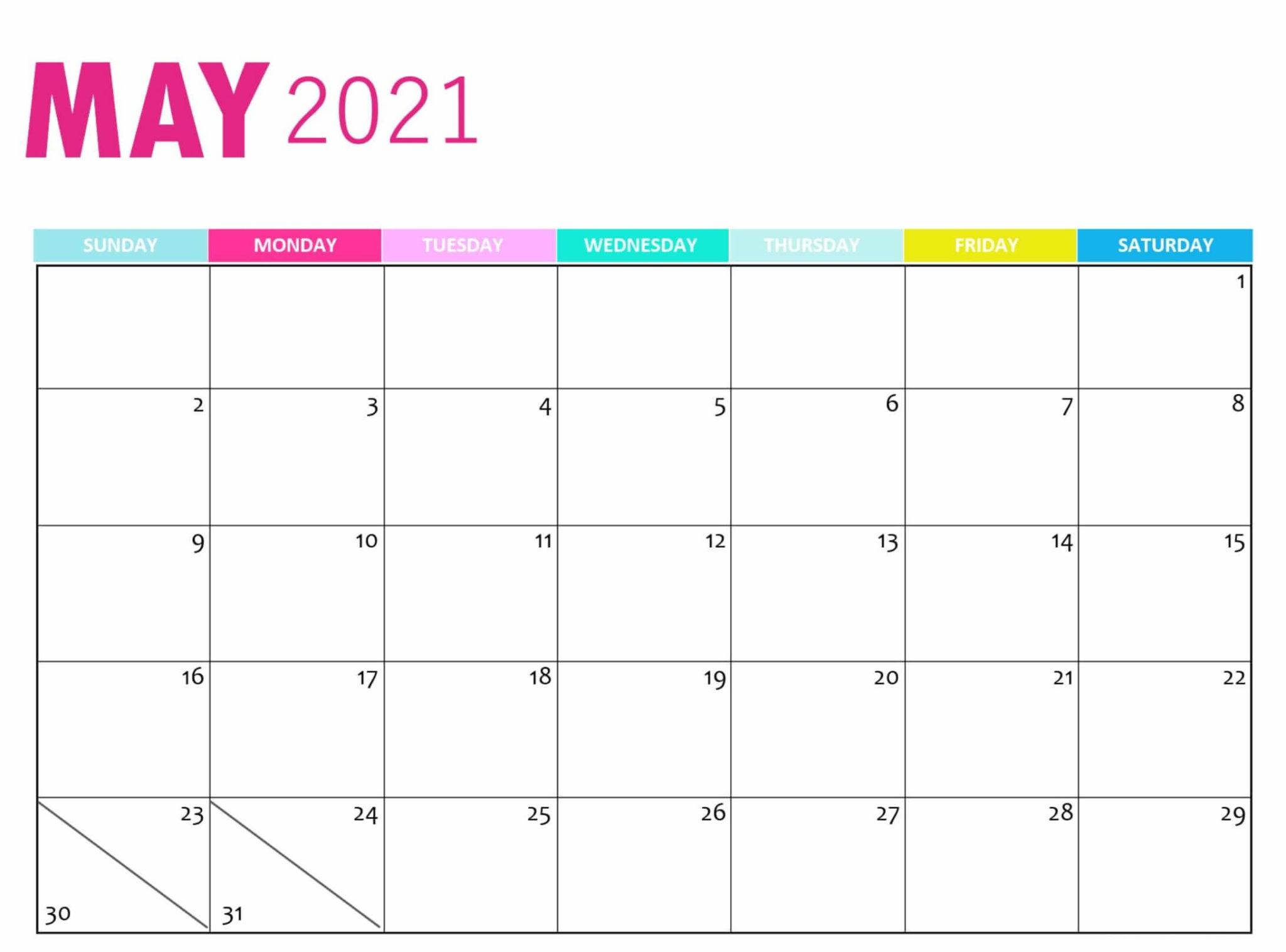 Cute May 2021 Calendar Design