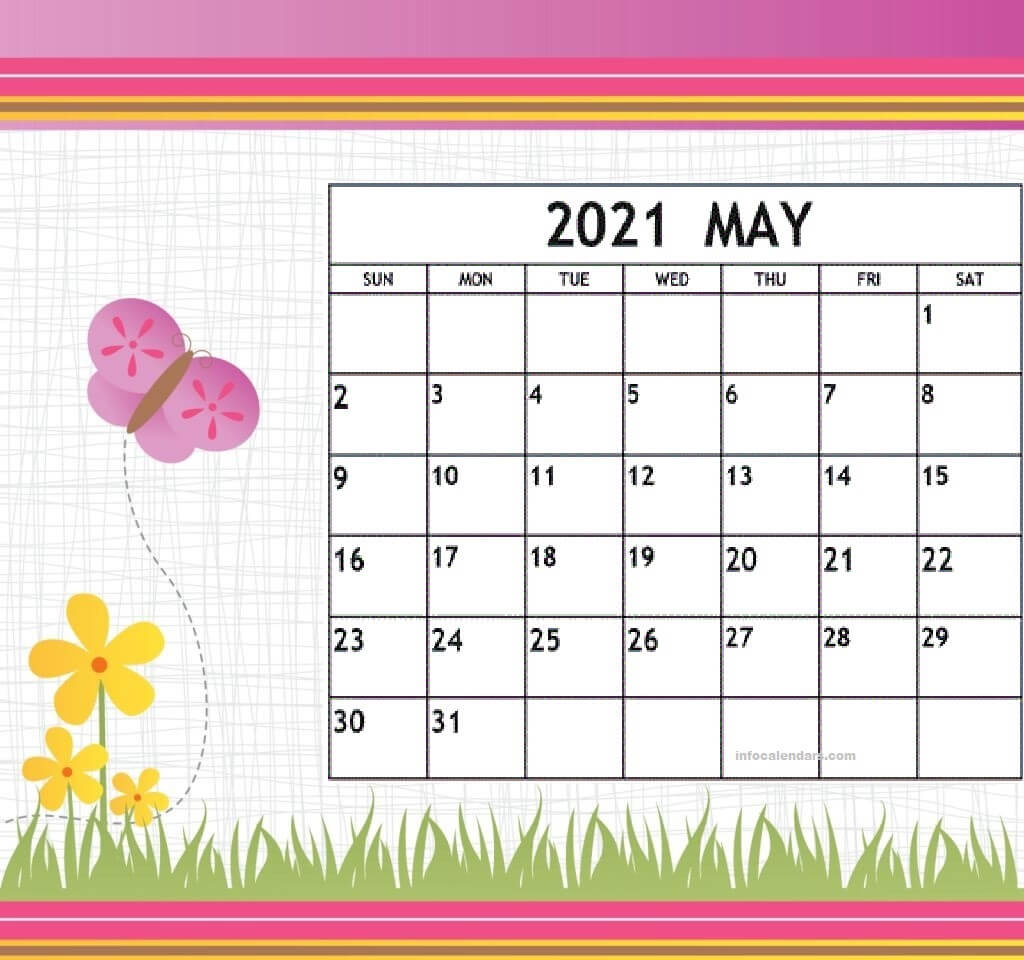 Cute May 2021 Calendar For Wall Decoration