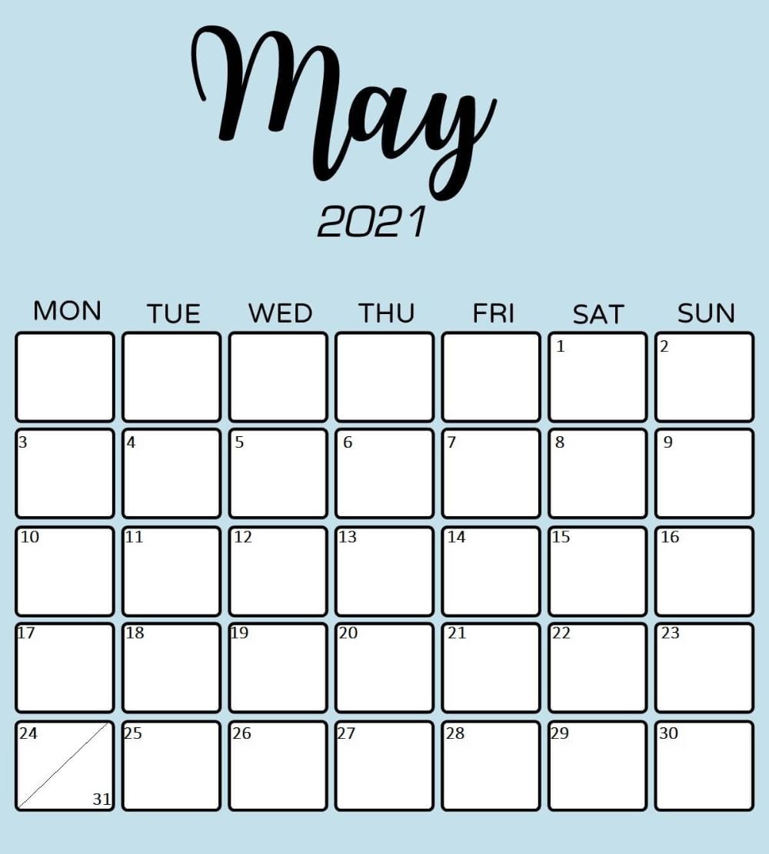 Elegant Printable May 2021 Calendar