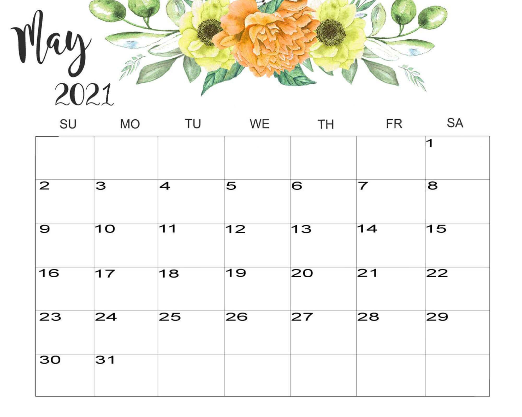 Floral May 2021 Calendar Cute