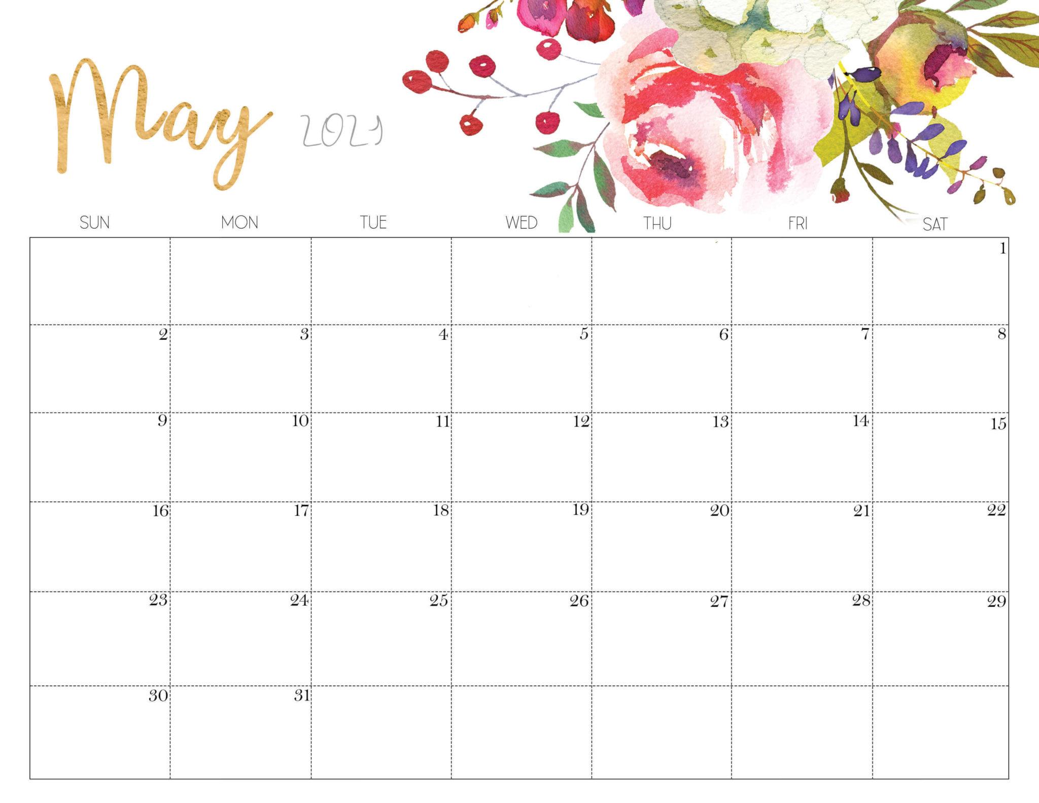 Floral May 2021 Calendar Printable