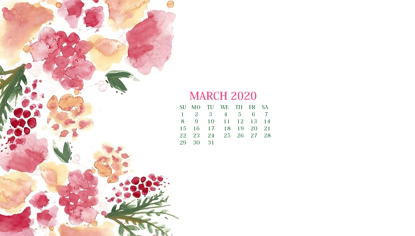 March 2020 Calendar Wallpaper