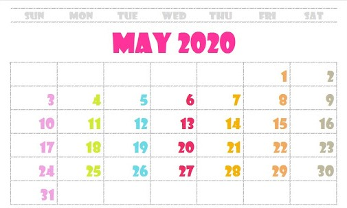 May 2020 Cute Calendar For Students