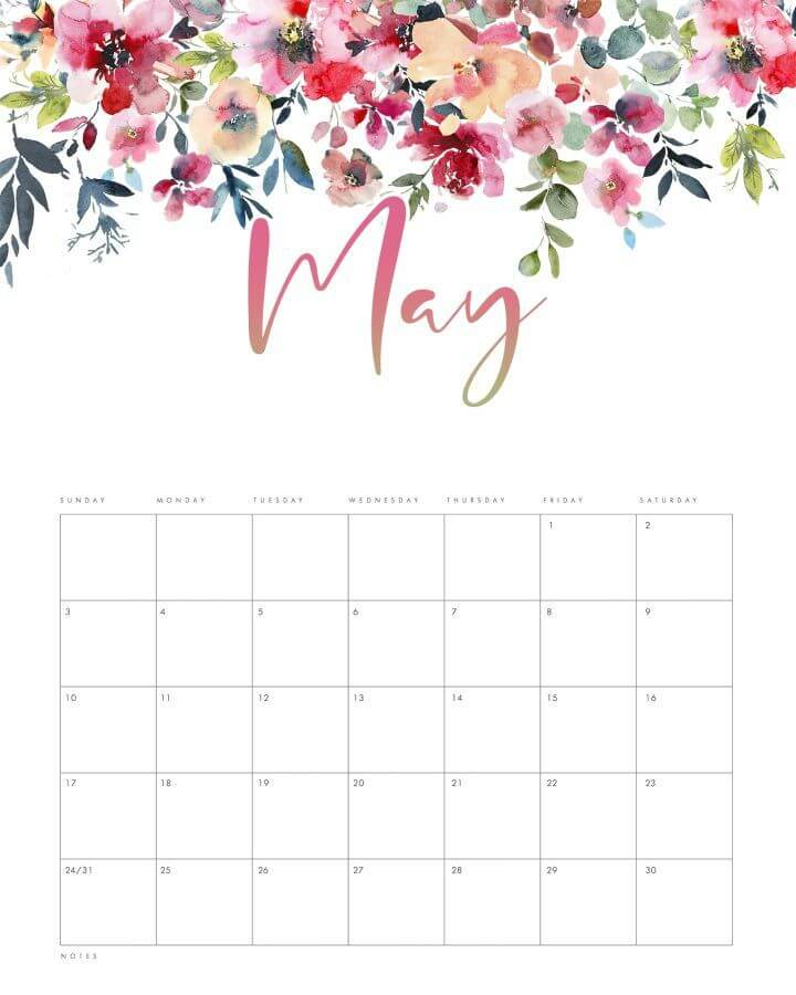 May 2021 cute calendar flower jpg