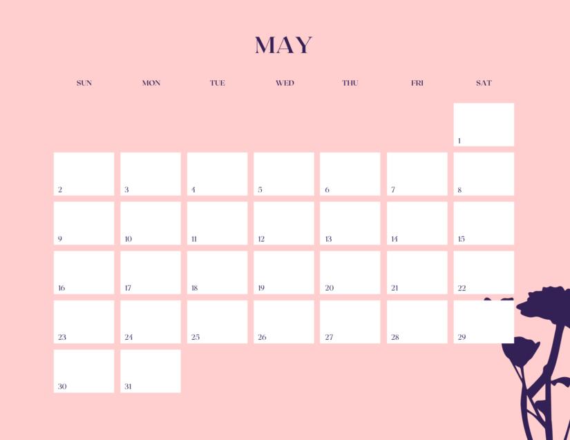 May 2021 cute calendar printable