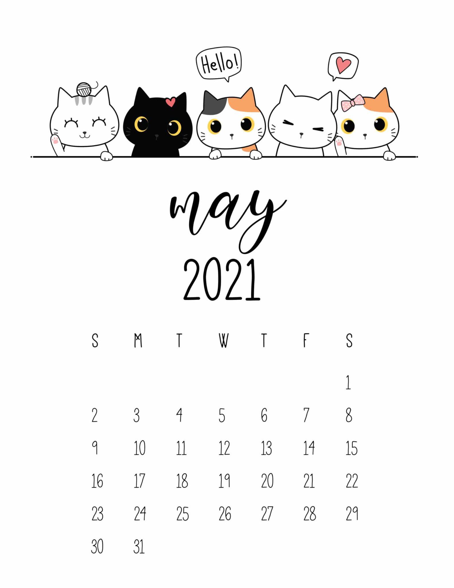 Peeking Cats 2021 Calendar Free Printable