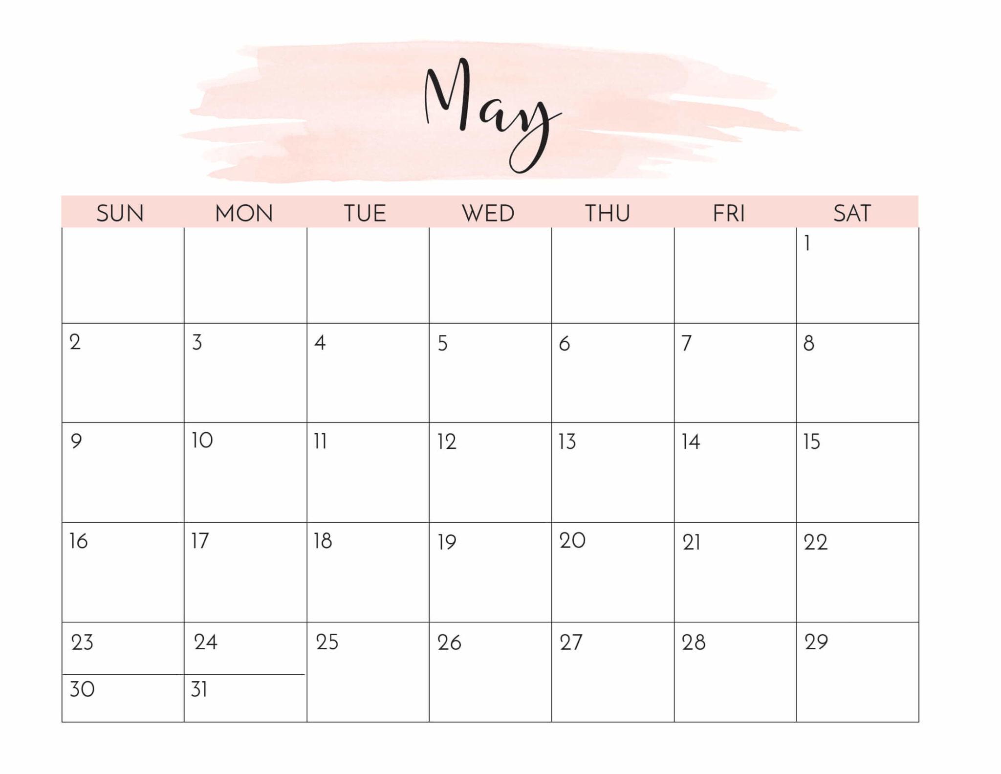 Pink May 2021 Calendar Templates