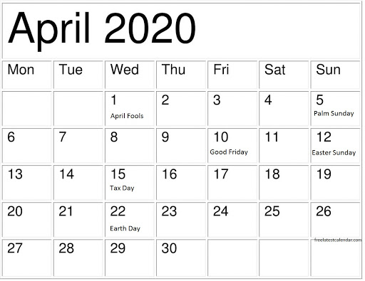 April 2020 Calendar with Holidays USA1
