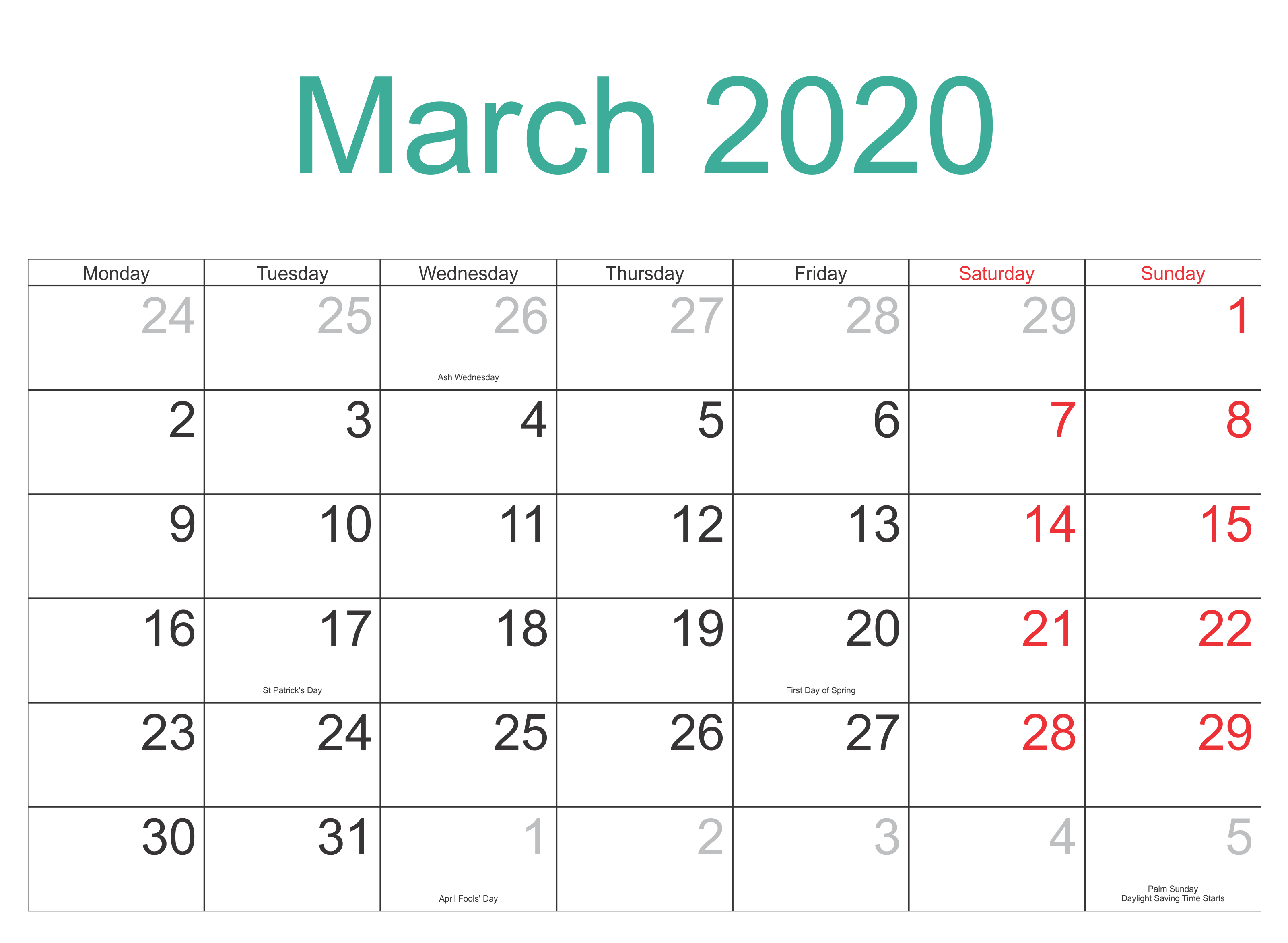 April 2020 Calendar with USA Holidays 3