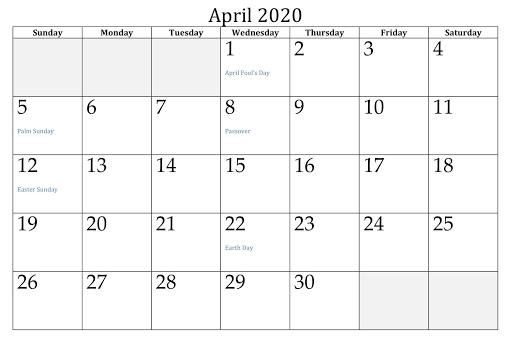 April 2020 USA Holidays calendar 3