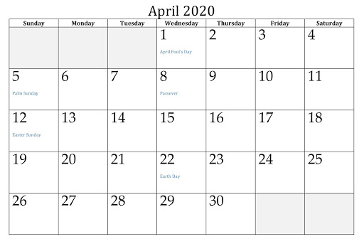 April 2020 USA Holidays calendar