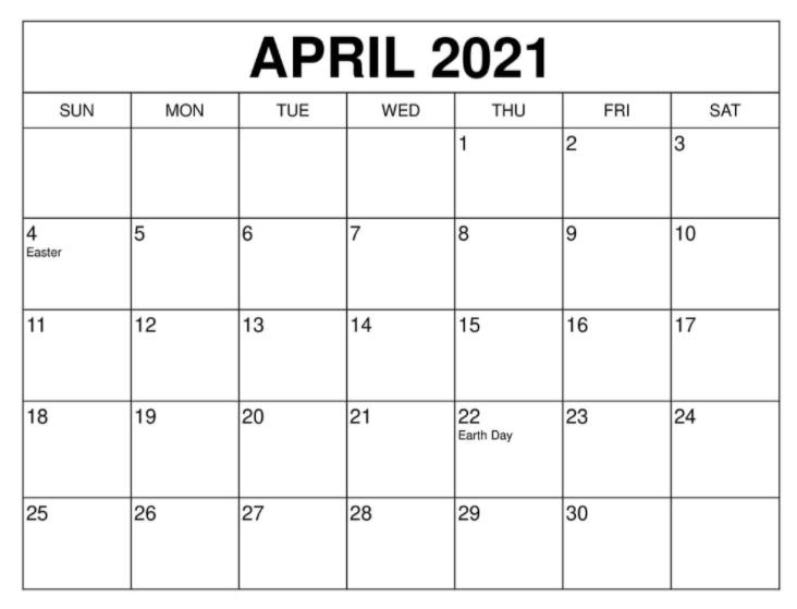 April 2021 Calendar Holidays uk