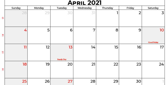 April 2021 Calendar With Holidays SA