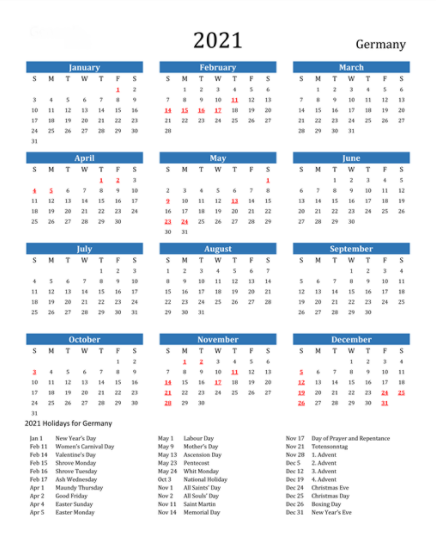 April 2021 Calendar with Holidays germany