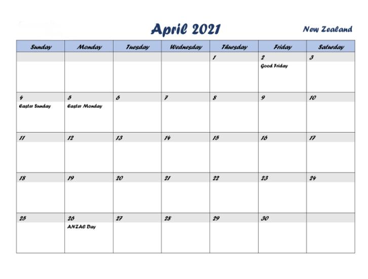 April 2021 Calendar with Holidays new zealand