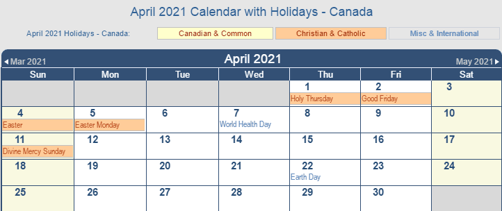 April 2021 Canada Calendar