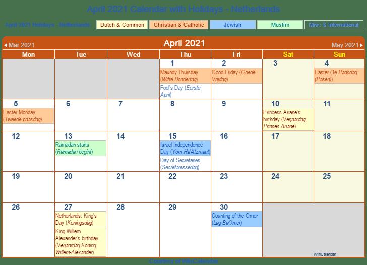 April 2021 Netherlands Calendar