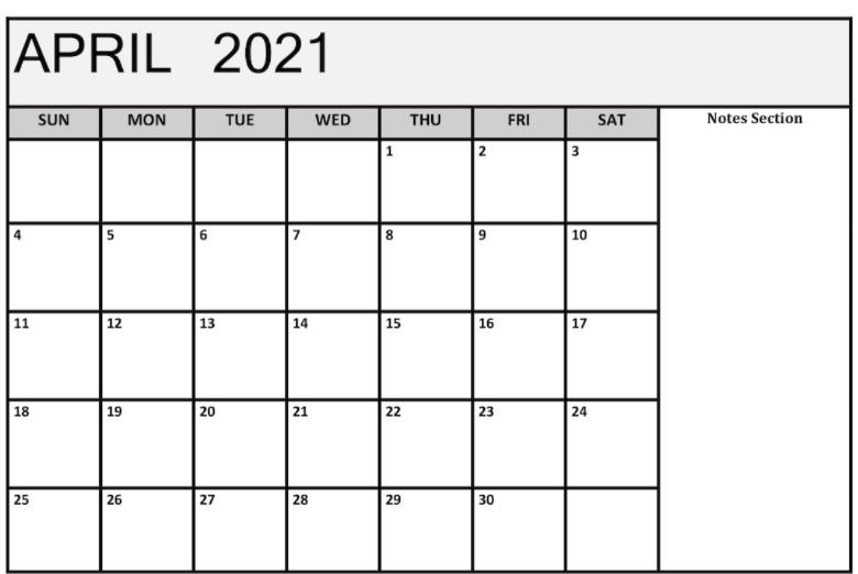 April 2021 Notes Calendar Template