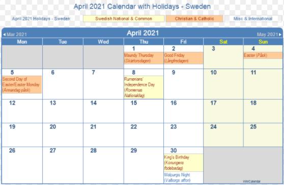 April 2021 Sweden Calendar Holidays