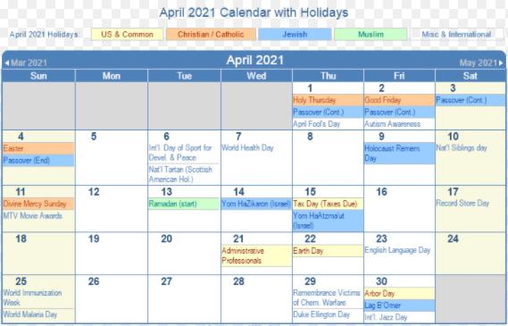 April 2021 US Calendar