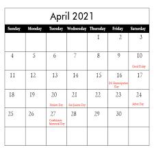 April Calendar 2021 with Holidays