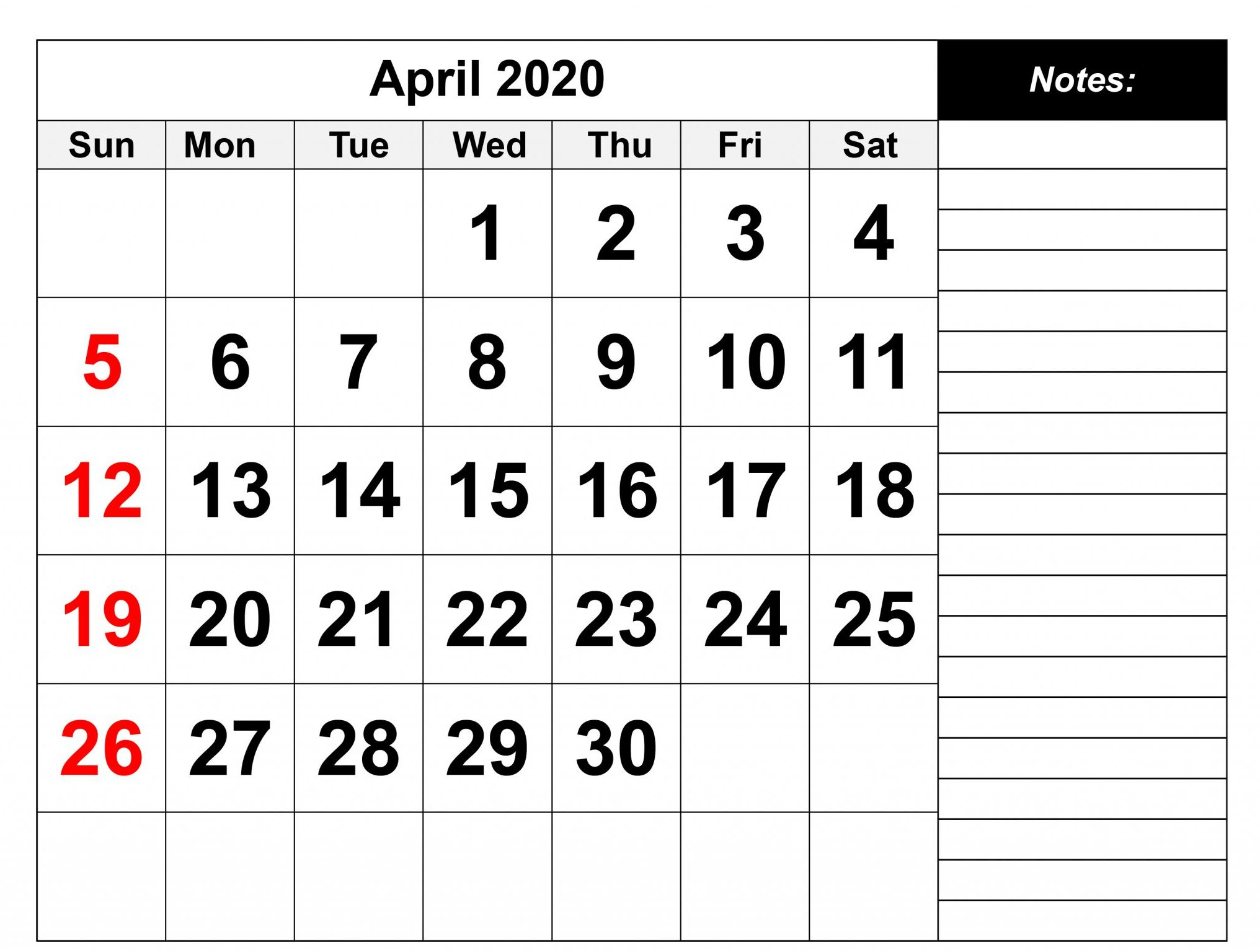 Blank April 2020 Fillable Calendar