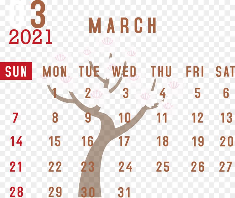 Blank March Calendar 2021
