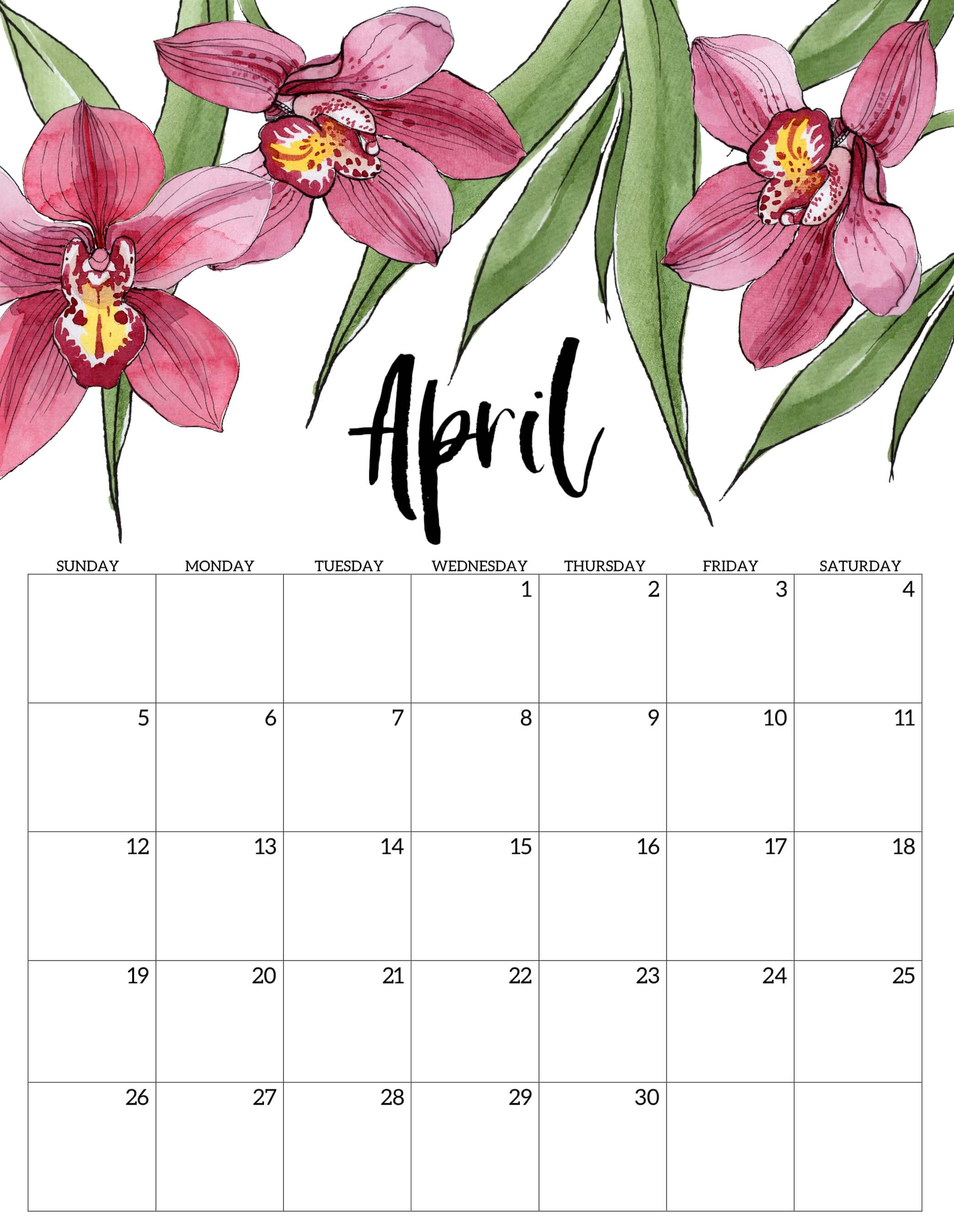 Cute April 2020 Calendar Floral Wallpaper For Desktop iPhone