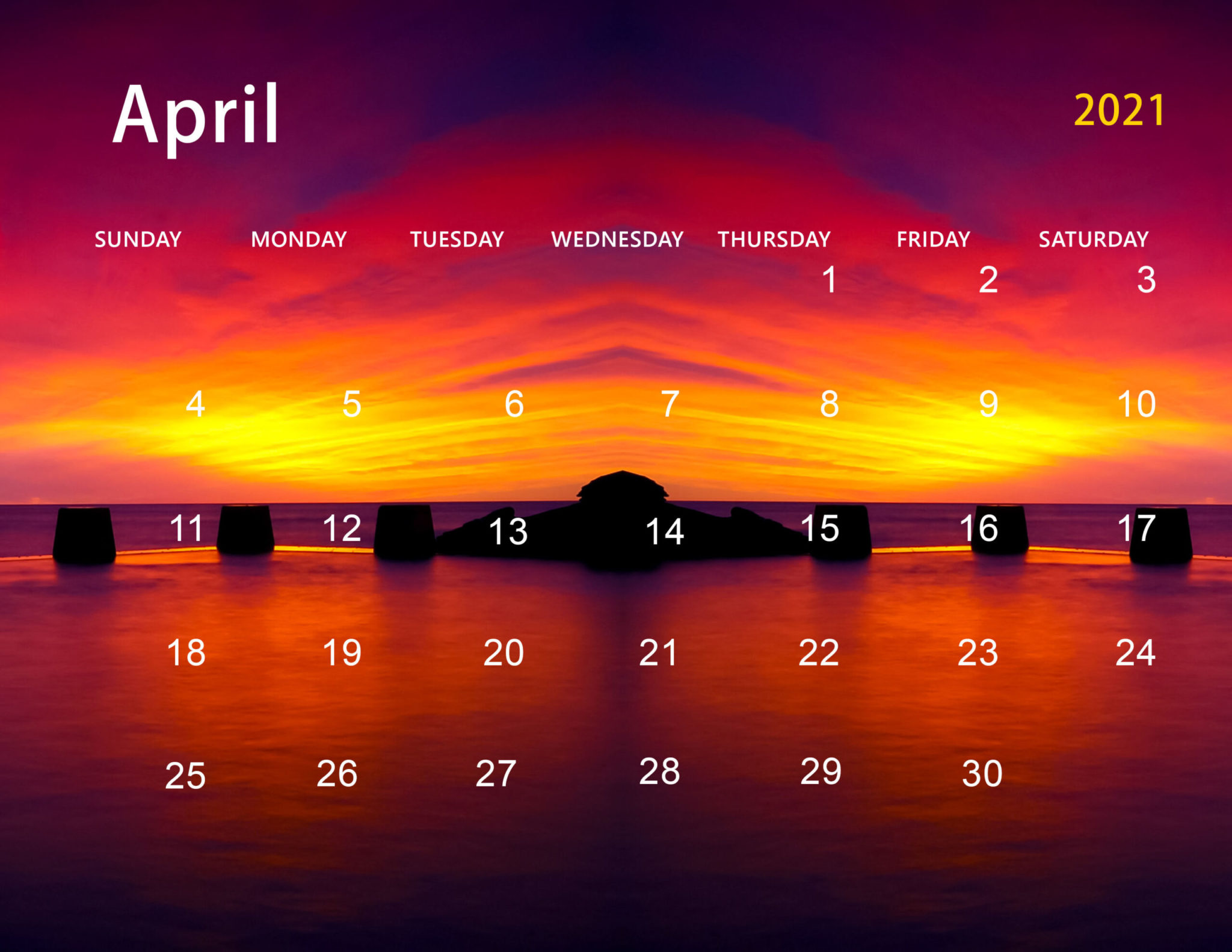 Cute April 2021 Calendar Desktop Wallpaper