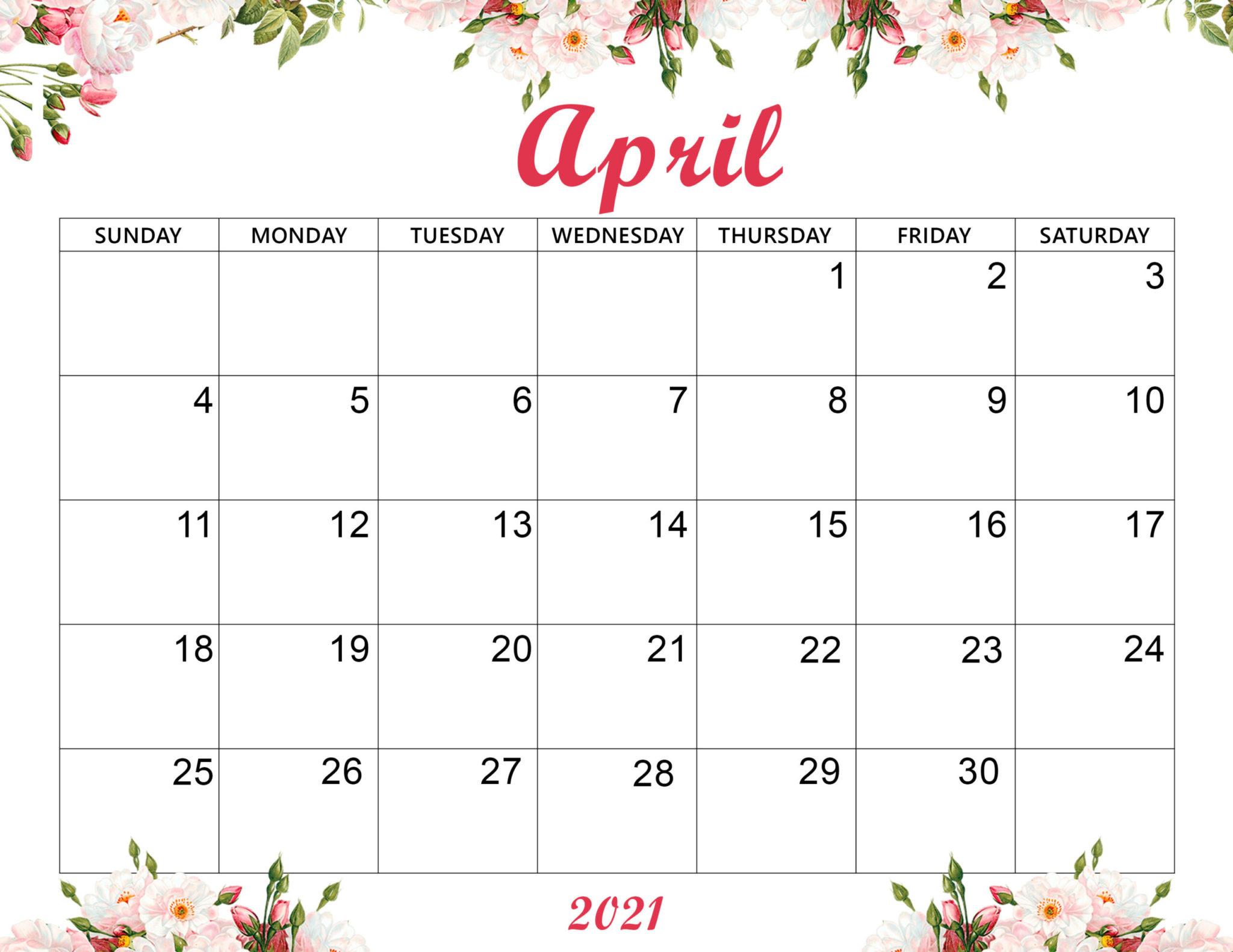 Cute April 2021 Calendar For Desk