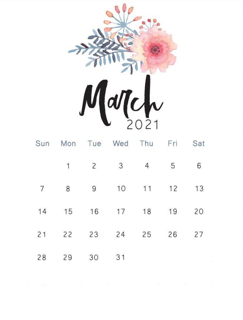 Cute March 2021 Calendar Floral Design