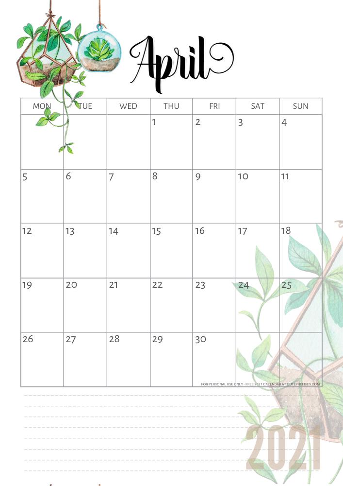 Cute Printable April 2021 Calendar