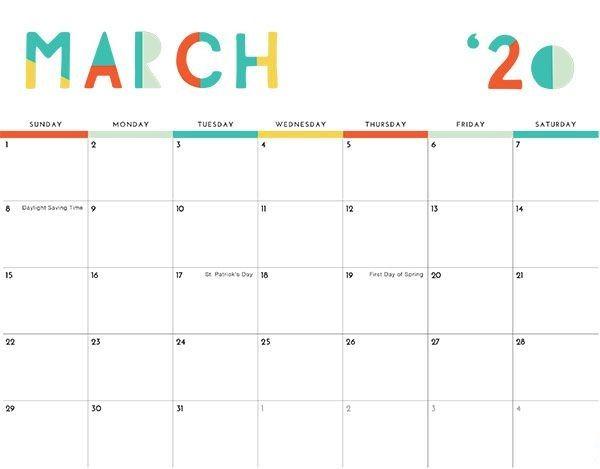 Decorative March 2021 Calendar Colorful