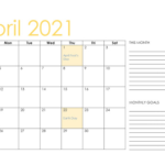 Fillable April 2021 Calendar with Notes Printable