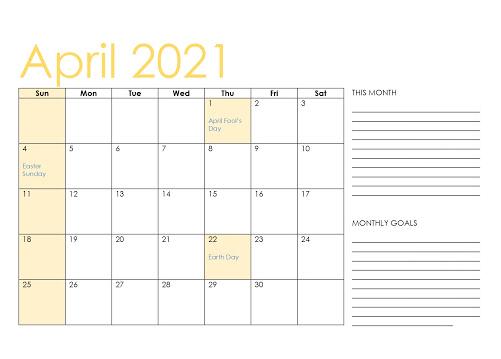 Fillable April 2021 Calendar with Notes Printable