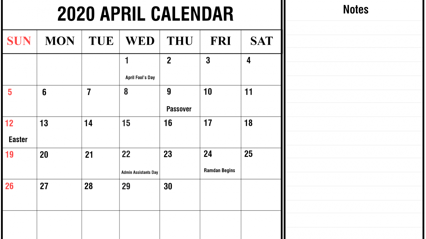 Fillable Calendar April 2020 with Notes