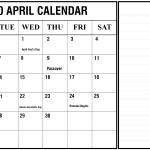 Fillable Calendar April 2020 with Notes