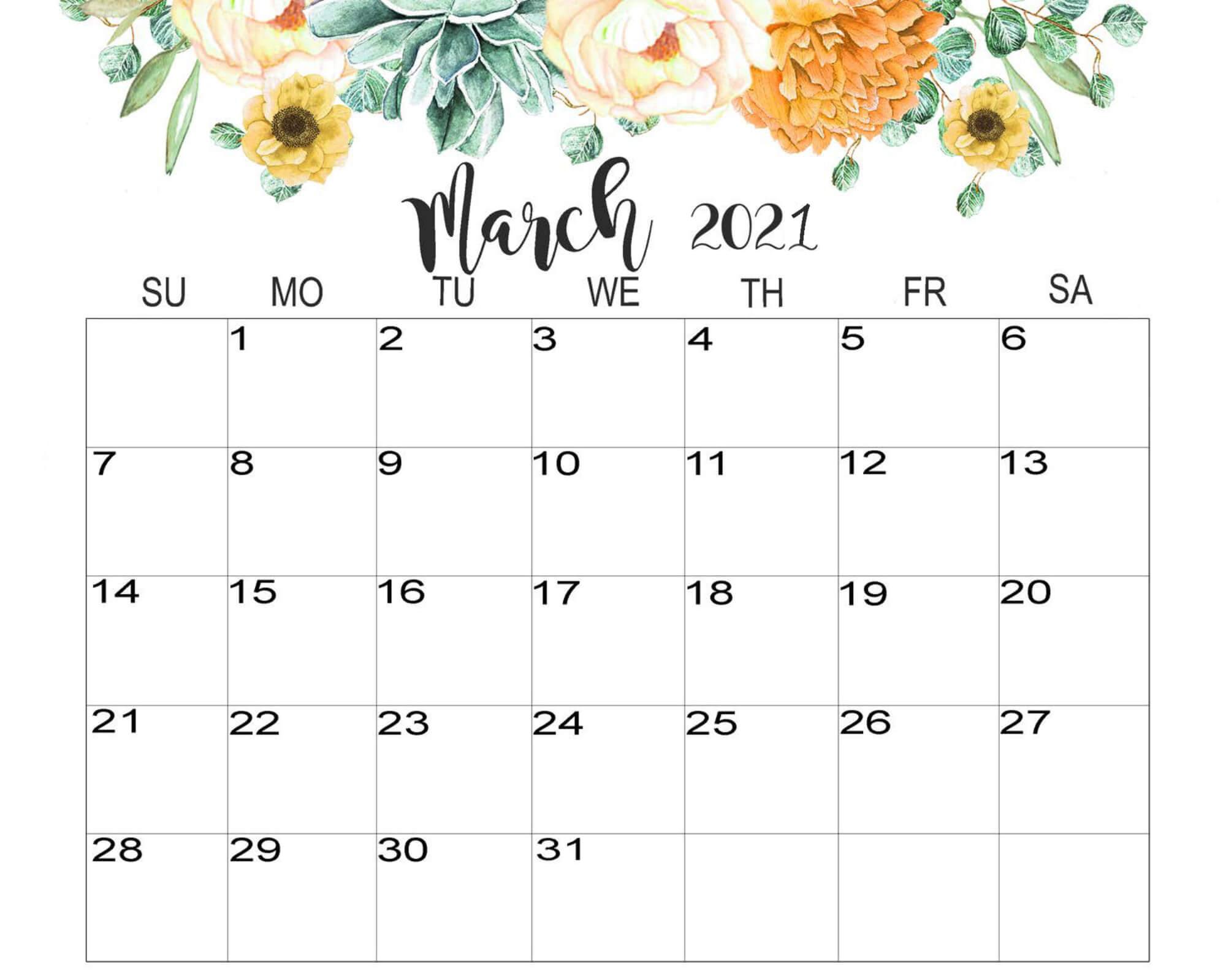 Print March 2021 Calendar Cute