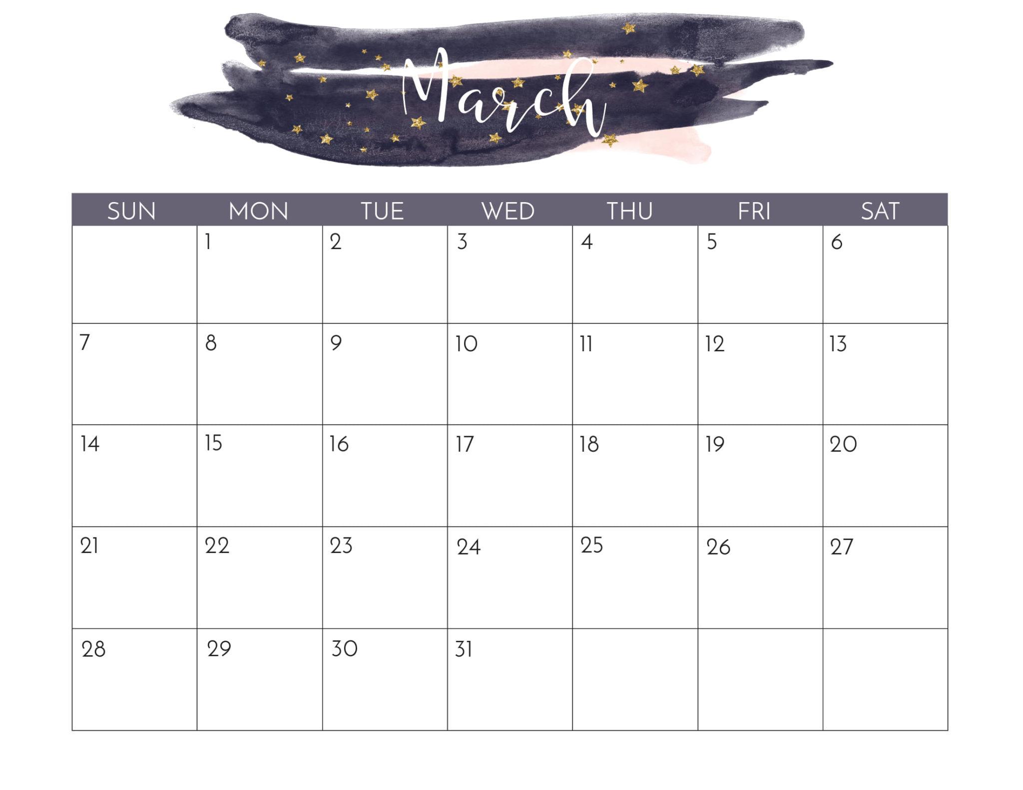 March 2021 Cute Calendar Printable