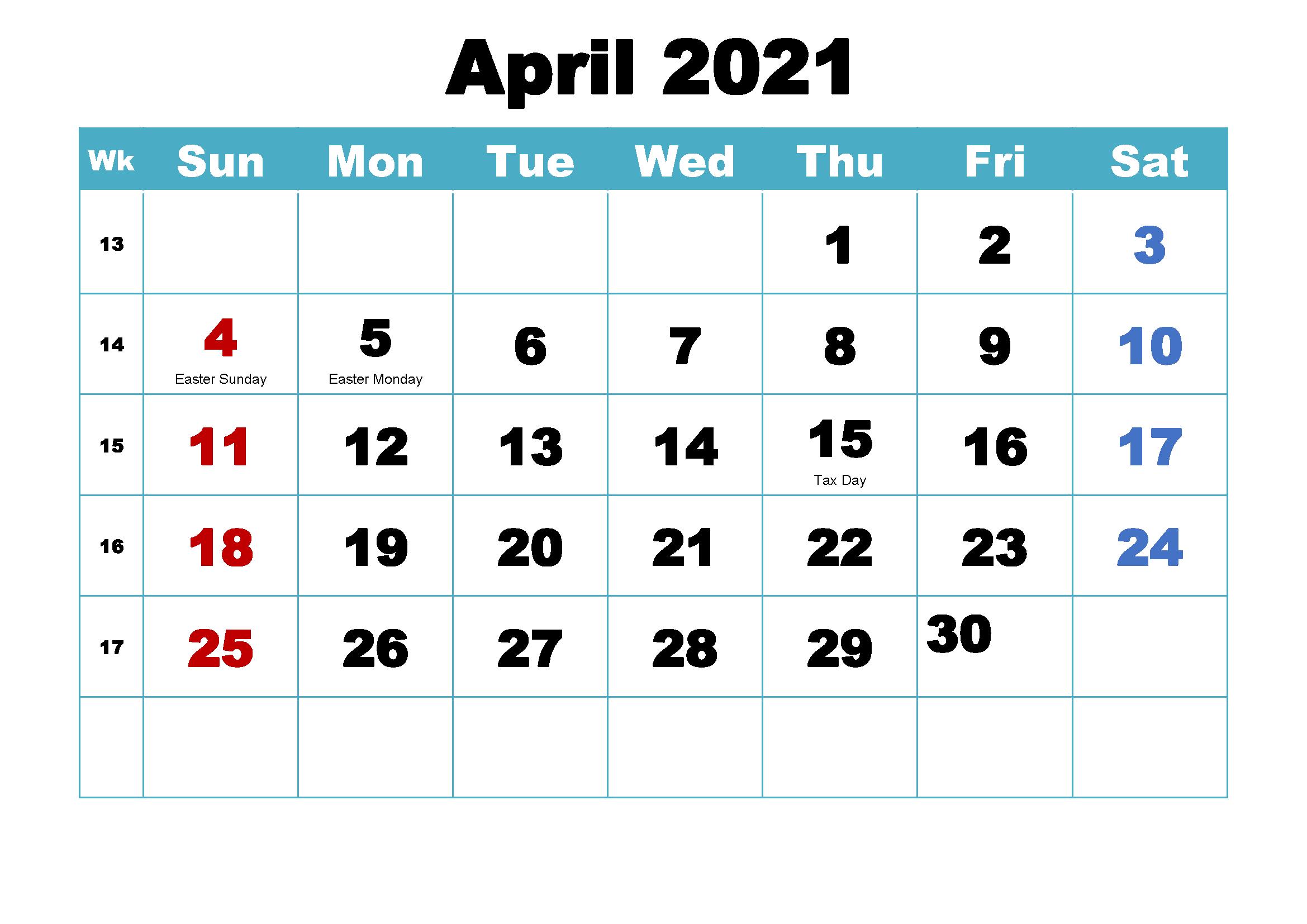 Free April 2021 Printable Calendar Holidays