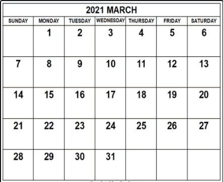 Free March 2021 Monthly Calendar