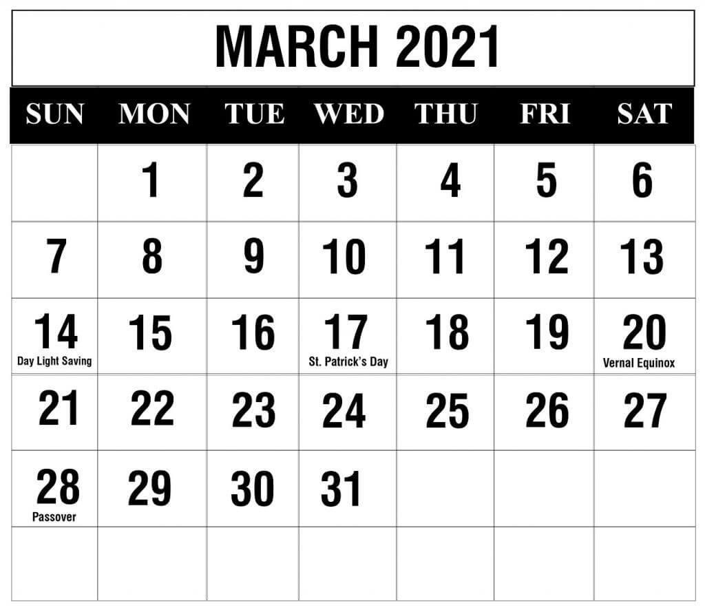 March 2021 Calendar Blank Template