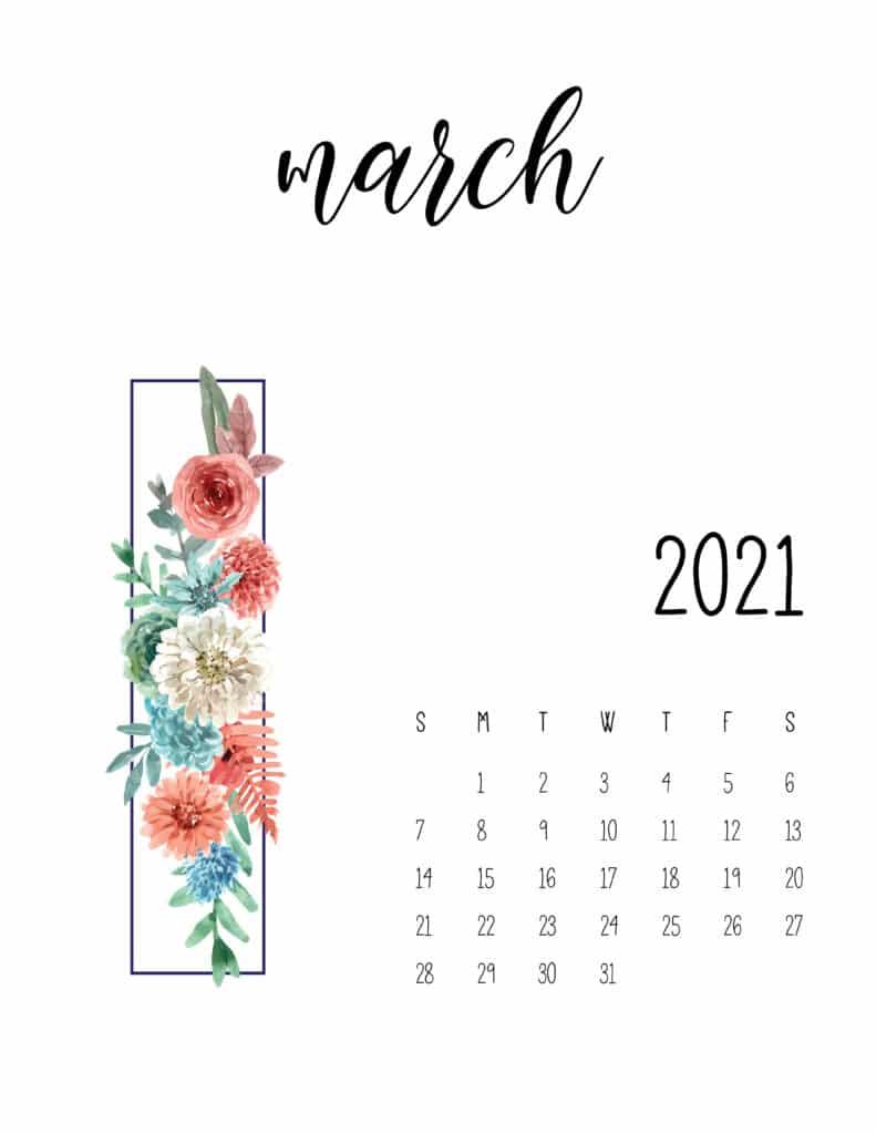 March 2021 Calendar Floral