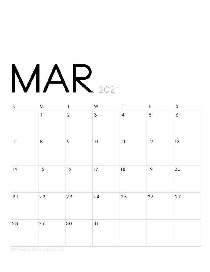 March 2021 Calendar Monthly Planner