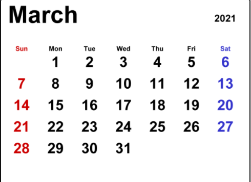 March 2021 Calendar Templates For Word Excel and PDF