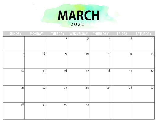 March 2021 Calendar Templates