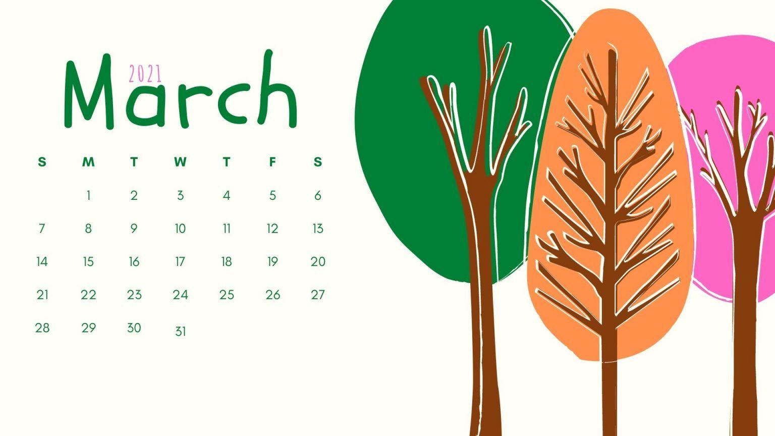 March 2021 Wallpaper Calendar Printable