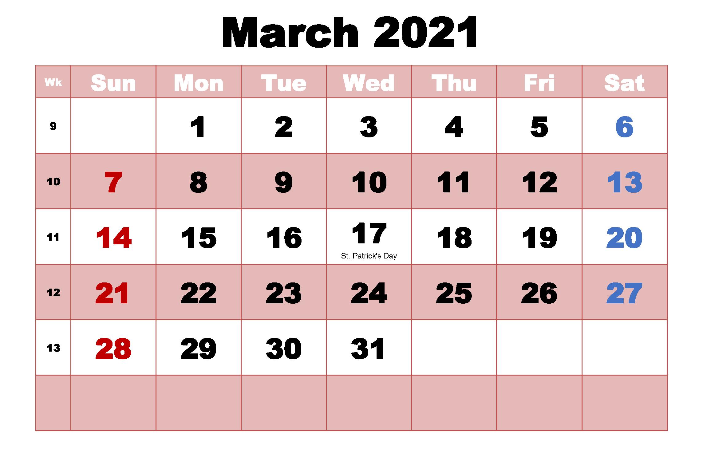 March 2021 Editable Calendar