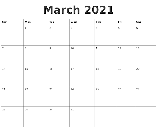 March 2021 Free Calendar Download